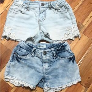 Two pairs of girls jean shorts